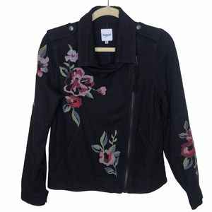 Kenzie Black Moto Floral Embroidered Jacket, Small